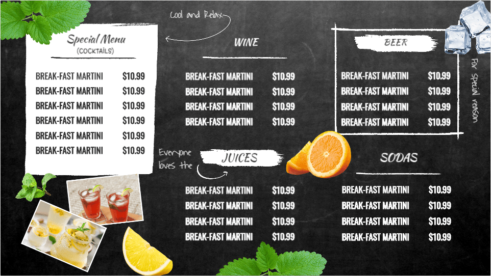 Cool & Relax Special Menu